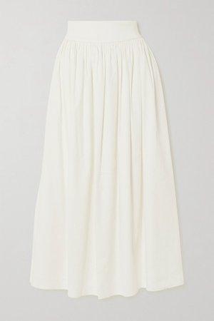 ANNA QUAN - Addy Gathered Linen-blend Maxi Skirt - Ivory
