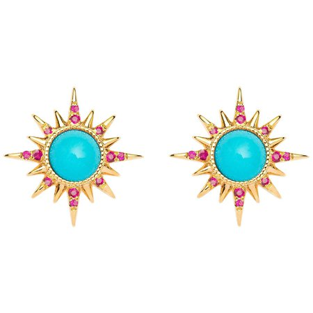 Electra Earrings, Turquoise, Rubies, 18 Karat Yellow Gold For Sale at 1stDibs