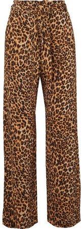 Luma Leopard-print Stretch Plissé-jersey Straight-leg Pants - Leopard print