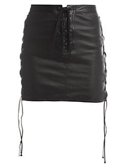 Unravel Project Lace-Up Leather Skirt