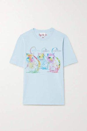 Printed Cotton-jersey T-shirt - Blue