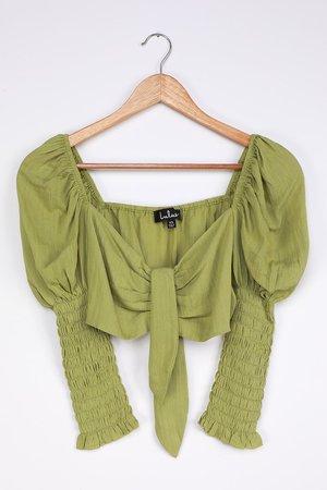 Cute Lime Green Top - Tie-Front Top - Crop Top - Smocked Top - Lulus