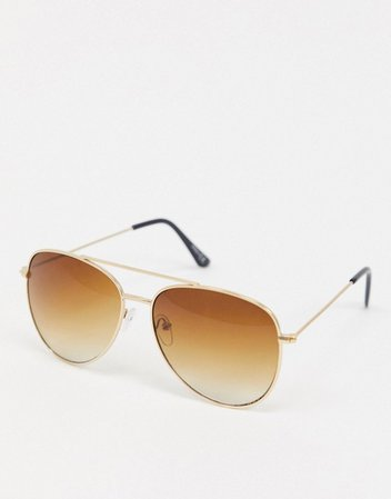ASOS DESIGN aviator sunglasses in gold with grad brown lens | ASOS
