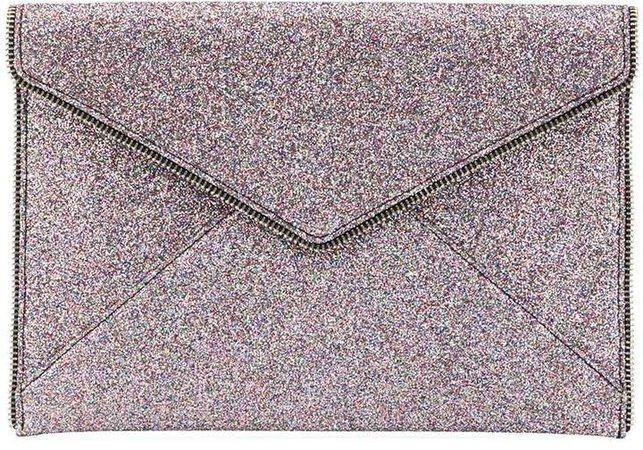 glitter Leo clutch bag