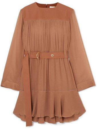 Belted Mousseline And Silk-blend Crepe Mini Dress - Brown