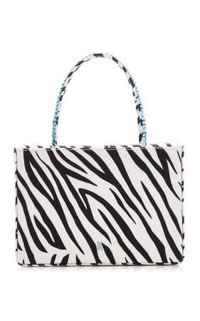 Amini Gilda Crystal-Trimmed Zebra-Print Leather Top Handle Bag By Amina Muaddi | Moda Operandi