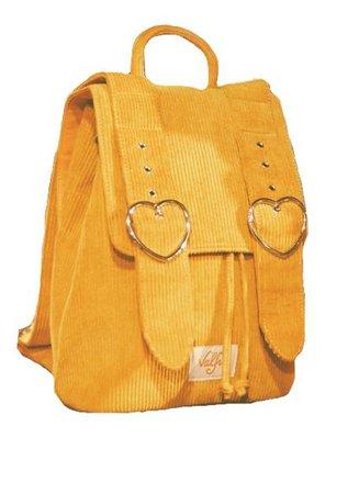yellow corduroy backpack png