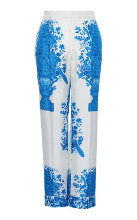 Grace-Print Silk Pants by Valentino | Moda Operandi