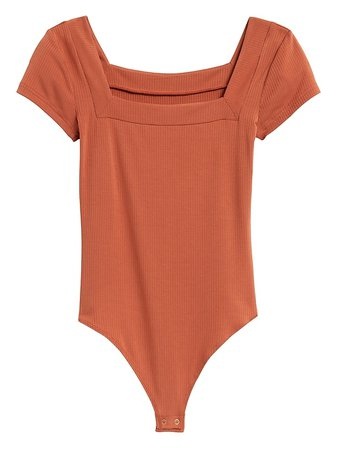 Ribbed Square-Neck Thong Bodysuit | Banana Republic