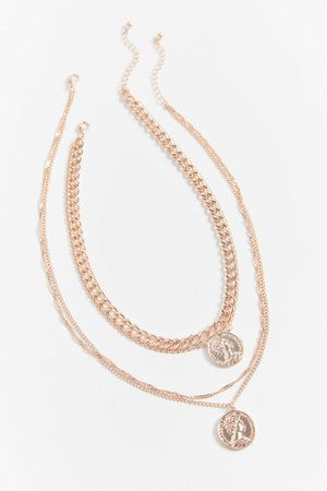 Levi Coin Layering Necklace Set   Urban Outfitters
