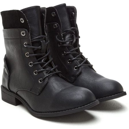 Bad Babe Faux Leather Combat Boots
