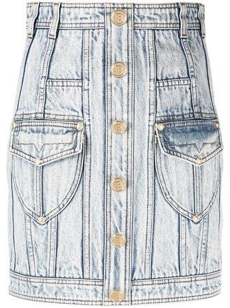 Balmain Jupe En Jean à Taille Haute - Farfetch