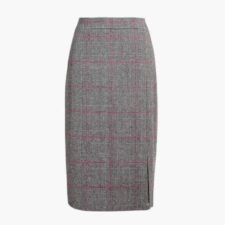 Glen plaid long pencil skirt