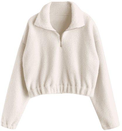 Zaful zip plain faux fur sweatshirt white