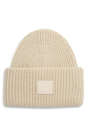 Acne Studios Pansy Face Patch Rib Wool Beanie | Nordstrom