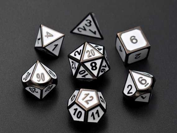 Whtie dice for dungeons and dragons-Solid Metal D&D Dice
