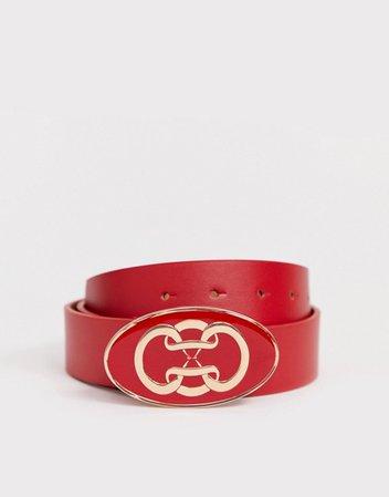 ASOS DESIGN logo buckle jeans belt   ASOS