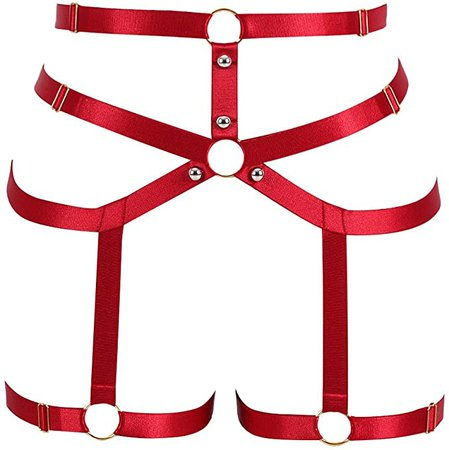 Amazon.com: MAMOHSS Womens Elastic Legs Harness Garter Belt Body High Waist Stockings Suspender Hollow Out Punk Gothic Adjustable (Wine Red): Clothing
