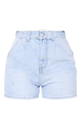 Light Blue Wash D-Ring Belted Mom Denim Shorts | PrettyLittleThing USA