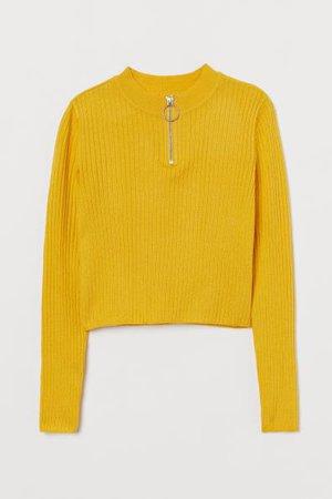 Ribbed Sweater - Yellow - Kids | H&M CA