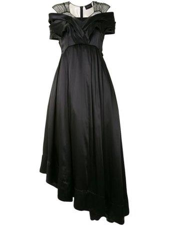 Shop black Simone Rocha sheer panel asymmetric dress with Express Delivery - Farfetch