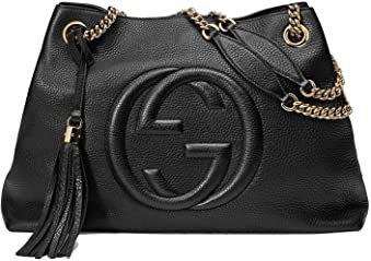 Amazon.com: Gucci Soho Medium Black Double Leather Chain Shoulder Bag Tote Black Gold New: Clothing