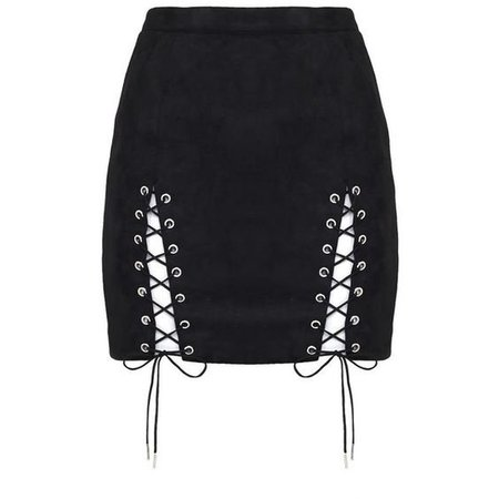 black lace up skirt | ShopLook