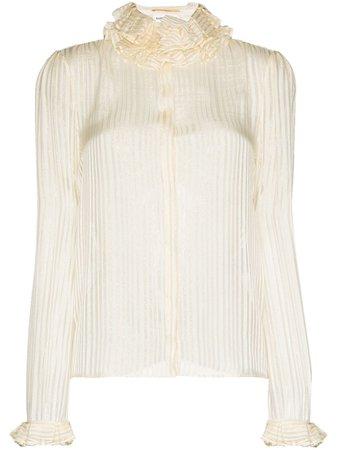Saint Laurent ruffle-collar Striped Blouse - Farfetch