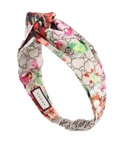Printed silk-satin headband