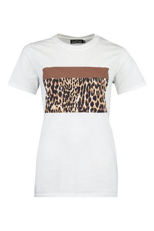 Petite Leopard Colour Block T-Shirt | boohoo white