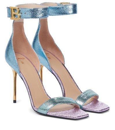 BALMAIN Rudie metallic leather sandals