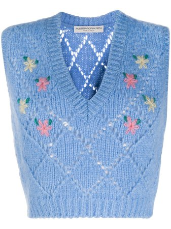 Alessandra Rich Floral Embroidered Sweater Vest - Farfetch