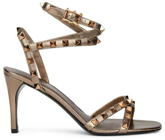 Rockstud Flair Ankle-Strap Metallic Leather Sandals