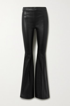 Leather Flared Pants - Black