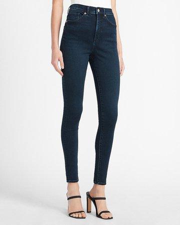 Super High Waisted Dark Wash Skinny Jeans