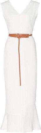 Belted Flared Crepe Midi Dress