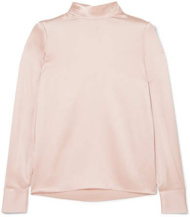 Silk-satin Turtleneck Blouse - Pastel pink