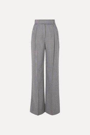 Houndstooth Wool Wide-leg Pants - Black