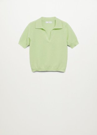 Knit cotton polo shirt - Woman   Mango Norway