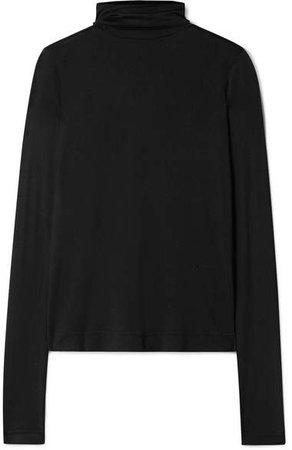 Silk-jersey Turtleneck Top - Black