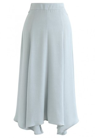 Silky Texture Asymmetric Midi Skirt in Mint - NEW ARRIVALS - Retro, Indie and Unique Fashion