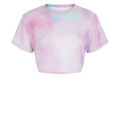 Carpe Diem Pink Tie Dye Mesh Crop Top | New Look