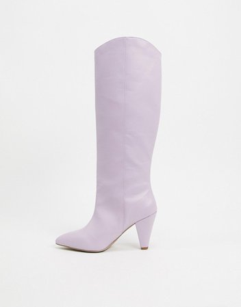 ASOS DESIGN Cherry pull on knee boots in lilac | ASOS