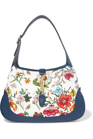 Gucci | Jackie Hobo medium floral-print canvas and textured-leather shoulder bag | NET-A-PORTER.COM