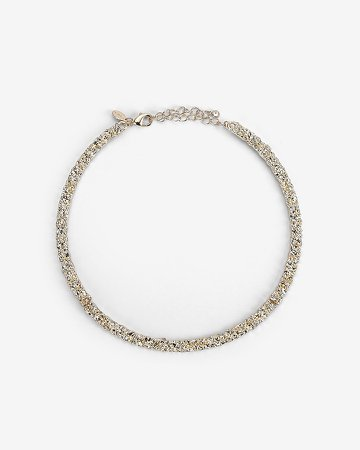 Crackled Metal Choker Necklace
