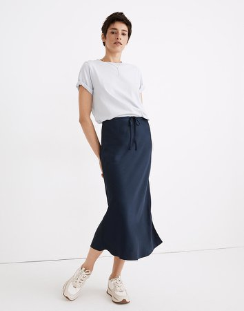 Drawstring Midi Slip Skirt