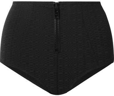 Poppy Seersucker Bikini Briefs - Black