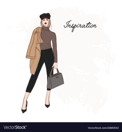 Girl in trendy cap coat pants and sweater sketch Vector Image