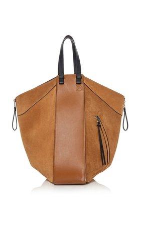 Hammock Leather-Trimmed Suede Tote by Loewe | Moda Operandi