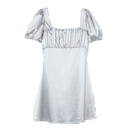 Silver Puff-Sleeved Dress